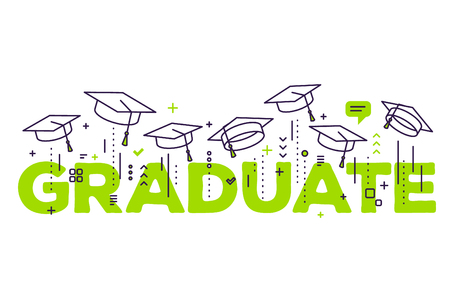 Vector illustration of green word graduation with graduate caps on a white background. Congratulation graduates 2017 class of graduations. Line art design of greeting, banner, invitation card for the graduation party with hat Illustration