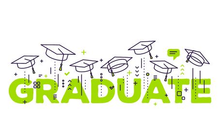 Vectorillustratie van groene woordgraduatie met gediplomeerde kappen op een witte achtergrond. Felicitatie afgestudeerden 2017 klasse van afstudeerders. Lijn kunst ontwerp van groet, banner, uitnodigingskaart voor de afstuderen partij met hoed
