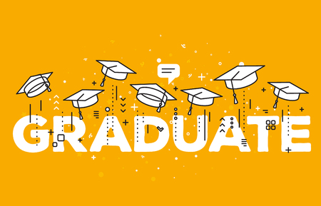 Vector illustration of word graduation with graduate caps on a yellow background. Congratulation graduates 2017 class of graduations. Caps thrown up. Line art design of greeting, banner, invitation card for the graduation party with hat