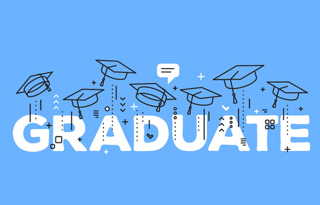 Vector illustration of word graduation with graduate caps on a blue background. Caps thrown up. Congratulation of graduation. Line art design of greeting, banner, invitation card for the graduation party with hat