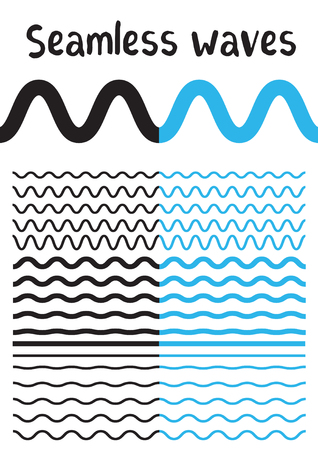 Collection of different wave isolated on white background. Vector big set of seamless wavy - curvy and zigzag - criss cross horizontal black and blue lines. Graphic design elements variation zigzag and wave line borders. Wave line for design of decorative