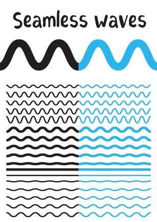Inzameling van verschillende golf die op witte achtergrond wordt geïsoleerd. Vector grote reeks naadloze golvend - curvy en zigzag - kruiselings horizontale zwarte en blauwe lijnen. Grafisch ontwerp elementen variatie zigzag en golflijn grenzen. Golflijn voor ontwerp van decoratief