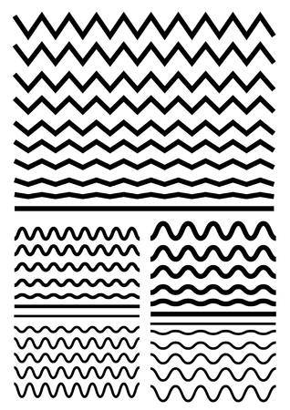 Vector big set of seamless wavy - curvy and zigzag - criss cross horizontal thick lines. Graphic design elements variation zigzag and wave line borders. Collection of different sharp and soft wave isolated on white background. Wave line for design of deco