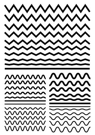 Vector grote set naadloze golvend - curvy en zigzag - criss cross horizontale dikke lijnen. Grafische ontwerpelementen variatie zigzag en golflijn grenzen. Verzameling van verschillende scherpe en zachte golf geïsoleerd op een witte achtergrond. Wave lijn voor deco ontwerp