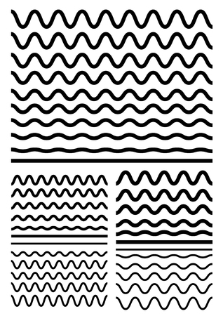 Collection of different soft wave isolated on white background. Graphic design elements variation zigzag and wave line borders. Vector big set of seamless wavy - curvy and zigzag - criss cross horizontal thick lines. Wave line for design of decorative bor Vettoriali