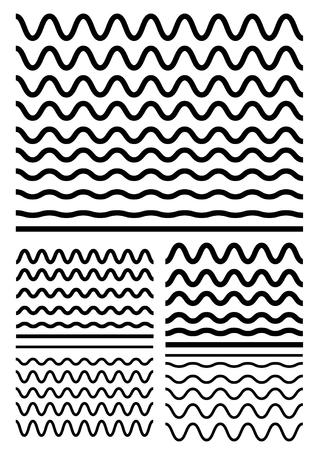 Raccolta di diverse onde morbide isolato su sfondo bianco. Elementi di design grafico variazione zigzag e bordi delle linee d'onda. Vector grande set di ondulato senza soluzione di continuità - curvy e zigzag - criss croce spesse linee orizzontali. Linea d'onda per la progettazione di decorativi bor