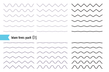 Vector big set of wavy - curvy and zigzag - criss cross horizontal lines. Collection of different wave isolated on white background. Graphic design elements variation dotted line and solid line. Wave line for design of decorative border, divider