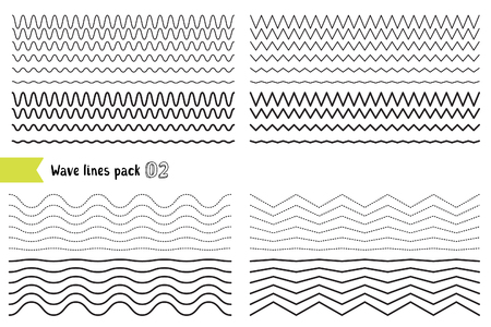매우 강력한 진동 진폭 가진 다른 파도의 벡터 컬렉션입니다. 그래픽 디자인 요소 변형 점선 및 실선. 물결 모양의 커다랗고 곱슬 곱슬하고 지그재그