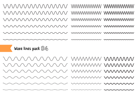 Vectorinzameling van verschillende dunne lijngolf die op witte achtergrond wordt geïsoleerd. Grote reeks van golvend - curvy en zigzag - kruiselings horizontale lijnen. Grafisch ontwerp elementen variatie gestippelde lijn en ononderbroken lijn. Golflijn voor ontwerp van decoratieve rand, verdeler Stockfoto - 81433388
