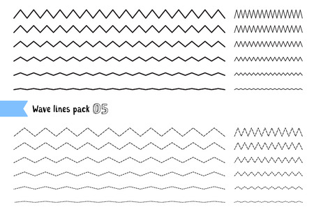 Vector collection of different thin line wide and narrow wavy line on white background. Big set of wavy - curvy and zigzag - criss cross horizontal lines. Graphic design elements variation dotted line and solid line. Wave line for design of decorative bor