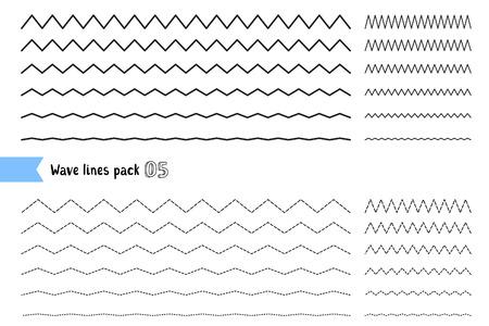 Vectorinzameling van verschillende dunne lijn brede en smalle golvende lijn op witte achtergrond. Grote reeks van golvend - curvy en zigzag - kruiselings horizontale lijnen. Grafisch ontwerp elementen variatie gestippelde lijn en ononderbroken lijn. Golflijn voor ontwerp van decoratieve bor