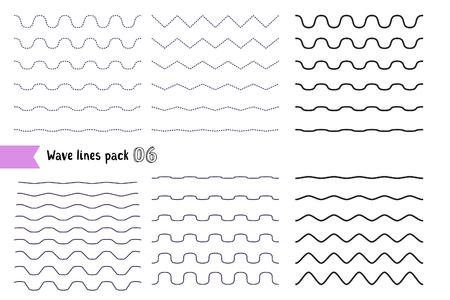 波状 - 曲線やジグザグ - のベクトルの大きなセット クリスクロスは異なるベンド、水平線。グラフィック デザイン要素変化点線と実線。別の細い線