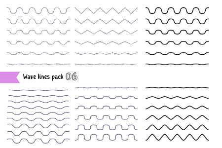 Vector big set of wavy - curvy and zigzag - criss cross horizontal lines with different bend. Graphic design elements variation dotted line and solid line. Collection of different thin line wave isolated on white background. Wave line for design of decora