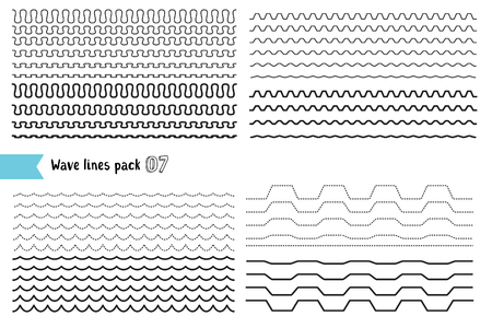 Vector collection of different wave with a very strong vibration amplitude and different line thicknesses. Big set of wavy - curvy and zigzag - criss cross horizontal lines. Wave line for design of decorative border, divider. Graphic design elements varia Ilustração