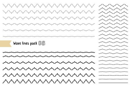 ベクトル グラフィック デザイン要素変動幅波線の大きなセット。波状の曲線やジグザグ - クリスクロス珍しい水平線。別の細い線波が白い背景で隔