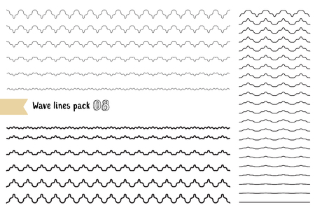Vector big set of graphic design elements variation wide wavy line. Wavy - curvy and zigzag - criss cross unusual horizontal lines. Collection of different thin line wave isolated on white background. Wave line for design of decorative border, divider