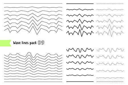 Vector collectie van verschillende golfen met een zeer sterke trillingsamplitude. Wave lijn voor het ontwerpen van decoratieve rand, divider. Grote set gebogen horizontale lijnen. Grafische ontwerpelementen variatie stippellijn en vaste lijn