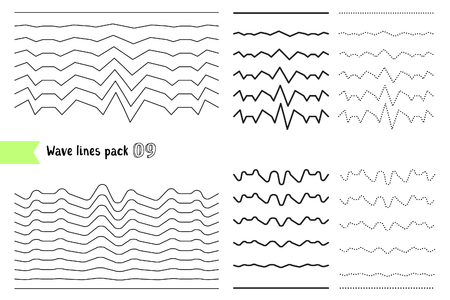 Vector collection of different wave with a very strong vibration amplitude. Wave line for design of decorative border, divider. Big set of curved horizontal lines. Graphic design elements variation dotted line and solid line