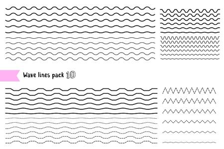 Insieme vettoriale di elementi di design grafico variazione linea tratteggiata e linea continua. Linea ondulata ampia e stretta linea sottile diversa su sfondo bianco. Una grande serie di linee ondulate, sinuose e a zigzag, che si incrociano orizzontalmente. Linea d'onda per la progettazione di decorativi bor