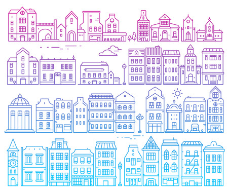 Big vector set of color european detailed buildings. Illustration of different urban structures on white background. Thin gradient line art design for web, site, advertising, banner