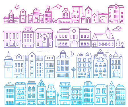 Illustration of different european detailed buildings on white background. Big vector set of color urban structures. Thin gradient line art design for web, site, advertising, banner