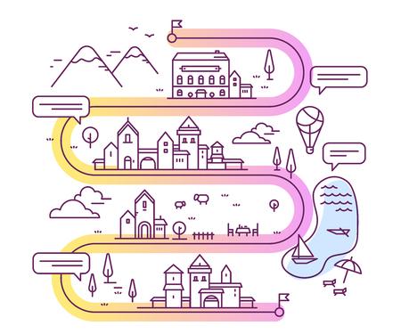 Vectorillustratie van stad navigatie met tekstballon. Infographic route concept. Wegenkaart met gebouwen en platteland meer, berg, restaurant, hotel. Dunne lijn kunst ontwerp voor web, site, reclame, banner