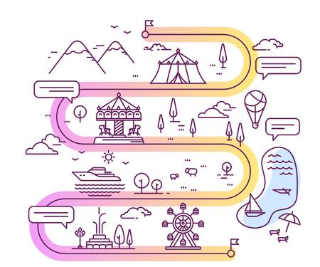 Vector illustratie van stad pretpark voor kinderen navigatie met tekstballon. Infographic route concept. Wegenkaart met plattelandsmeer, berg, aantrekkelijkheid. Dunne lijn kunst ontwerp voor web, site, reclame, banner