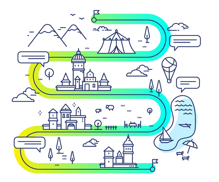 Vectorillustratie van stadsnavigatie met luchtballon en wolken. Infographic route concept. Wegenkaart met gebouwen en platteland meer, berg, circustent, kerk. Dunne lijn kunst ontwerp voor web, site, reclame, banner