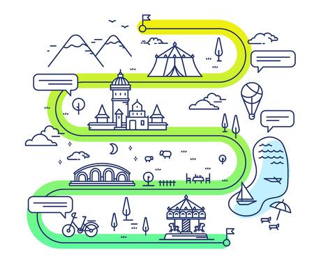 Vector illustratie van stad kinderen entertainment navigatie. Infographic route concept. Wegenkaart met platteland meer, berg, attractie, sprookjesachtig kasteel. Thin line art ontwerp voor web, site, reclame, banner Stock Illustratie