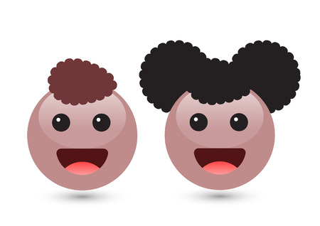 Vector illustration of two cute smiley brown emoticons on white background. Smile icons of boy and girl with dark hair, smile, red tongue. Funny expressing social smileys. Set of volume emoji