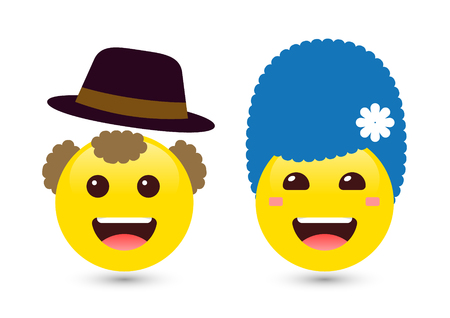 Vector illustration of two adult smiley yellow emoticons on white background. Set of volume emoji. Smile icons of man with hat and woman with blue hair. Funny expressing social smileys Ilustração