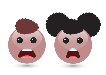 Vector illustration of two cute smiley brown emoticons on white background. Disappointed icons of boy and girl with dark hair, mouth, red tongue. Funny expressing social smileys. Set of volume emoji