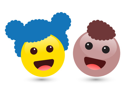 Vector illustration of two cute smiley yellow and brown emoticons on white background. Smile icons of friends with hair, red tongue. Funny expressing social smileys. Set of volume boy and girl emoji