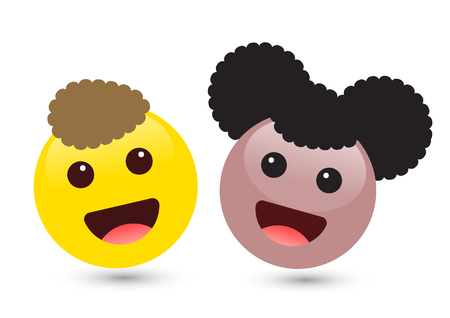 Vector illustration of two cute smiley emoticons on white background. Set of volume yellow boy and brown girl emoji. Smile icons of friends with hair, red tongue. Funny expressing social smileys.