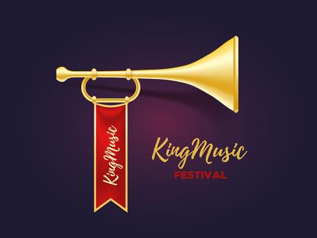 Illustrazione vettoriale realistica di tromba di metallo dorato lucido con nastro rosso e testo su sfondo scuro. Annuncio di un concetto di festival musicale. 3d disegno di corno per web, sito, banner Archivio Fotografico - 83488528