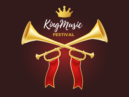 3d design of shiny golden metal horn. Realistic vector illustration of crossed trumpet with red ribbon, crown and text on dark background. Announcement of a music festival concept for web, site, banner