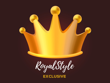 Royal crown award for winner, leadership, champion, event, festival. 3d design of gold crown. Realistic vector illustration of shiny golden metal king crown on dark background with text