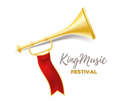 Announcement of a music festival concept. Realistic vector illustration of shiny golden metal trumpet with red ribbon and title on white background.  3d design of horn for web, site, banner