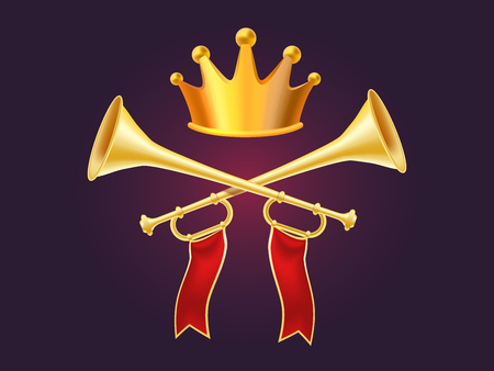 3d design of shiny golden metal horn and shiny crown. Realistic vector illustration of crossed trumpet with red ribbon on dark background with crown. Royal objects for web, site, banner