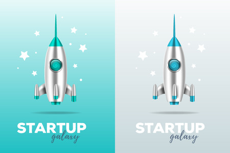 Startup business concept with shuttle. Realistic vector template with two color illustration of shiny metal space rocket with text and stars on gray and blue background. 3d design of spaceship for web, site, presentation Çizim