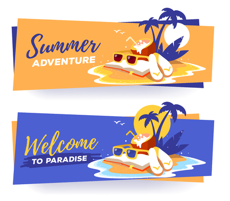Vector template with illustration of a sandy island in the ocean with a palm tree, book, sunglasses, and more.