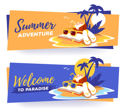 flip flops: Vector template with illustration of a sandy island in the ocean with a palm tree, book, sunglasses, coconut cocktail with sun and waves on two color background. Flat style vacation design for web, poster, tourism advertising