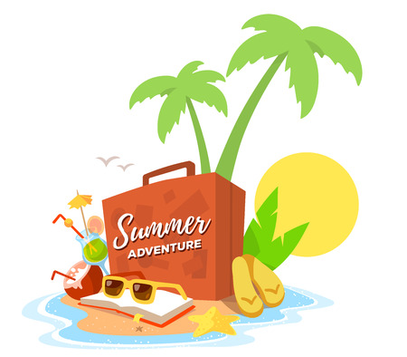 Vector creative illustration of a sandy island in the ocean with a green palm tree, an suitcase, book and sunglasses on white background with yellow sun and waves. Flat style vacation design for web, poster, tourism advertising