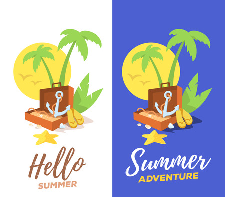 flip flops: Vector creative illustration of a green palm tree, an open suitcase and an anchor with yellow sun and flip flops on white and dark background. Flat style template vacation design for web, tourism advertising