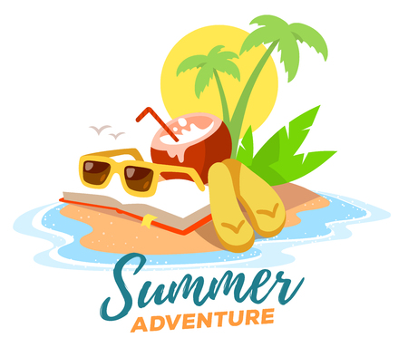 flip flops: Vector creative illustration of a sandy island in the ocean with a green palm tree, book, sunglasses, coconut cocktail on white background with yellow sun and waves. Flat style vacation design for web, poster, tourism advertising