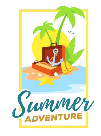 flip flops: Vector creative template with frame and illustration of a sandy island in the ocean with a green palm tree, an open suitcase and an anchor on white background with yellow sun and waves. Flat style vacation design for web, poster, tourism advertising