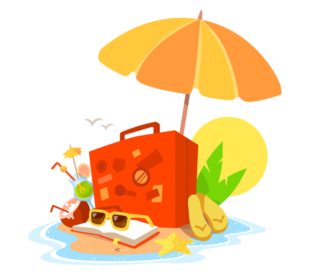 flip flops: Vector creative illustration of a sandy island in the ocean with a parasol, an suitcase, book and sunglasses on white background with yellow sun and waves. Flat style vacation design for web, poster, tourism advertising