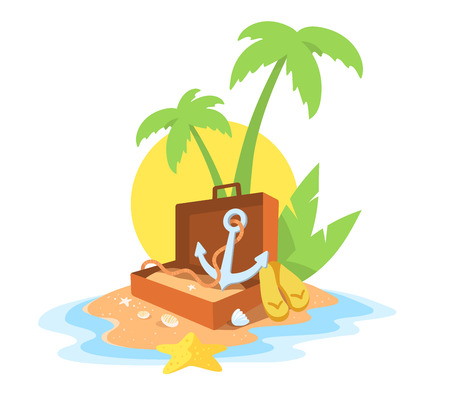 Vector creative illustration of a sandy island in the ocean with a green palm tree, an open suitcase and an anchor on white background with yellow sun and waves. Flat style vacation design for web, poster, tourism advertising