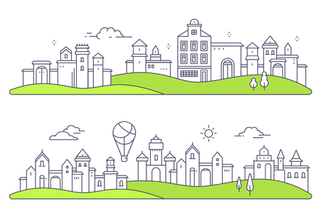 Set of urban european city with tree, cloud, air balloon. Vector illustration of detailed city landscape on white background with green meadow. Thin line art design for web, site, advertising, horizontal banner
