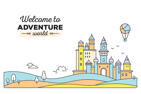 Vector horizontal template with colorful illustration of landscape and title. Castle with tree, cloud, air balloon on white background with meadow. Thin line art design for web, site, advertising,  banner